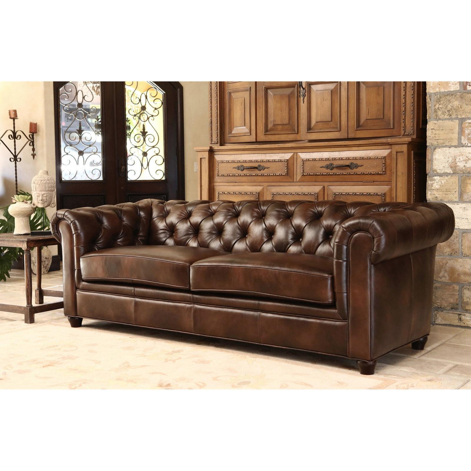White Leather Tufted Sofa Classic Chesterfield Design Top Grain Regarding Brown Leather Tufted Sofas (Image 20 of 20)
