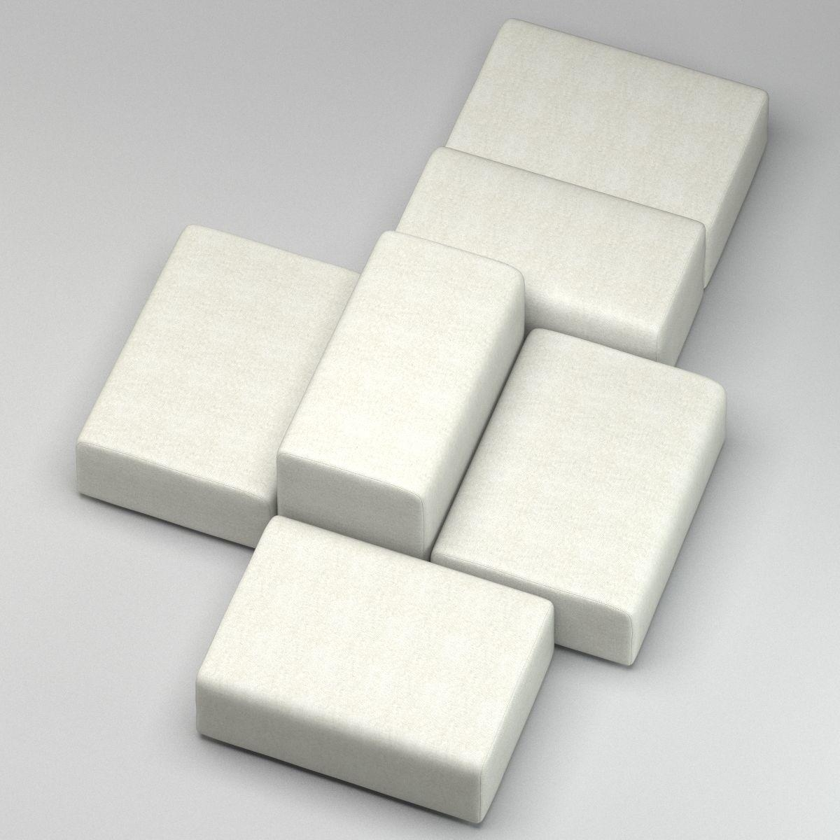 White Modern Sofa Divan 3D Model Max Obj Fbx Stl Mtl Inside White Modern Sofas (Image 18 of 20)