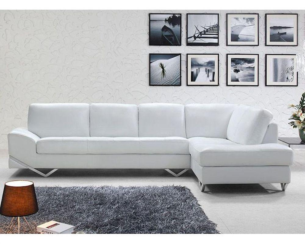 White Or Latte Leather Sectional Sofa Set 44L6064 Throughout White Modern Sofas (Image 19 of 20)