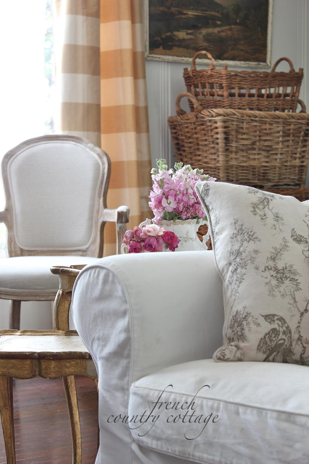 White Slipcovers – French Country Cottage Pertaining To Country Cottage Sofas And Chairs (View 7 of 20)