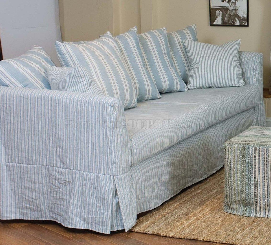 Blue striped sofa blue white striped sofa dolls house for White divan chair