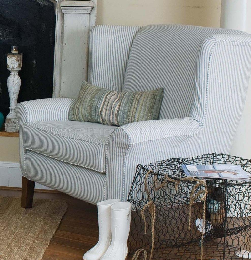 & White Striped Fabric Classic Sofa & Oversize Chair Inside Blue And White Striped Sofas (View 5 of 20)