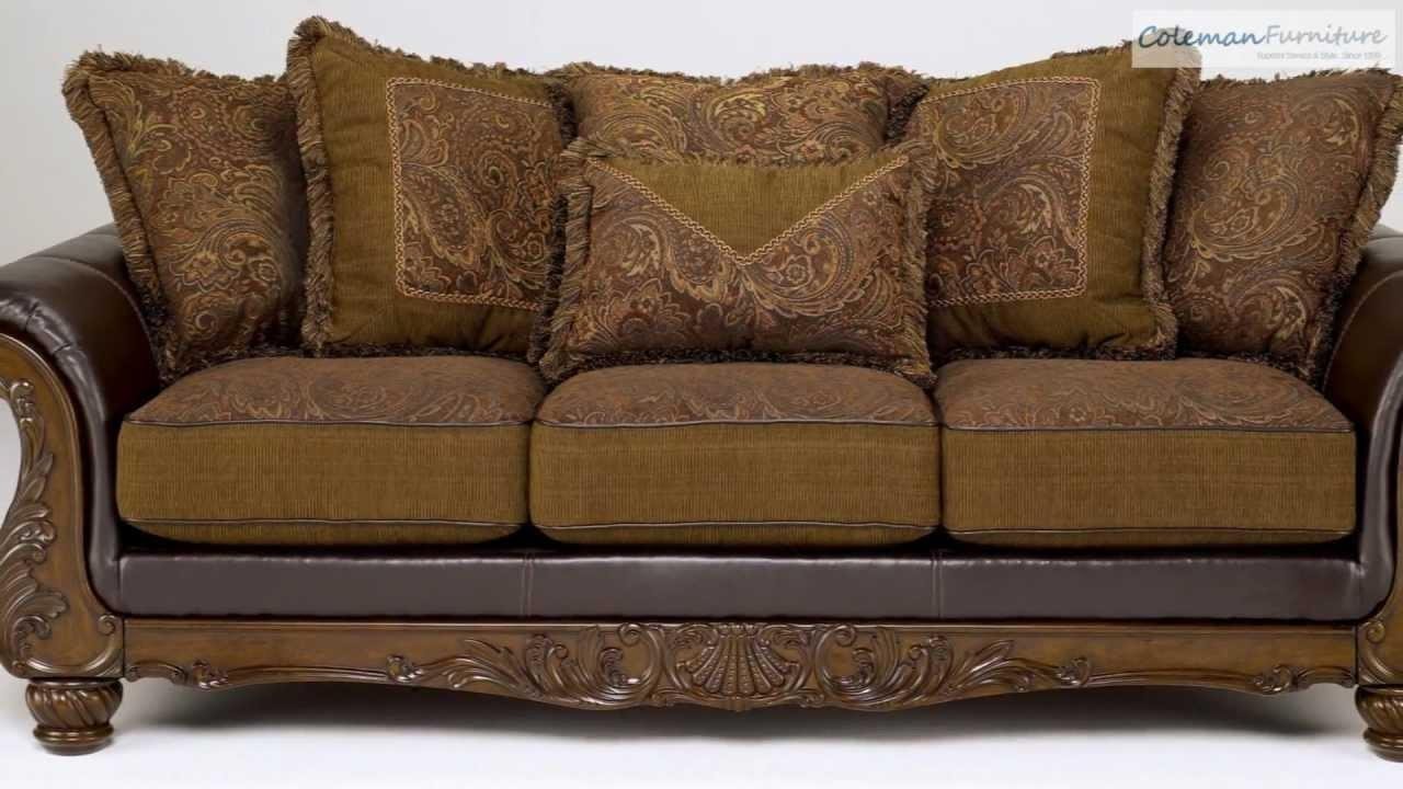 Wilmington Walnut Living Room Collection From Signature Design Pertaining To Bradington Truffle Sofas (Image 20 of 20)