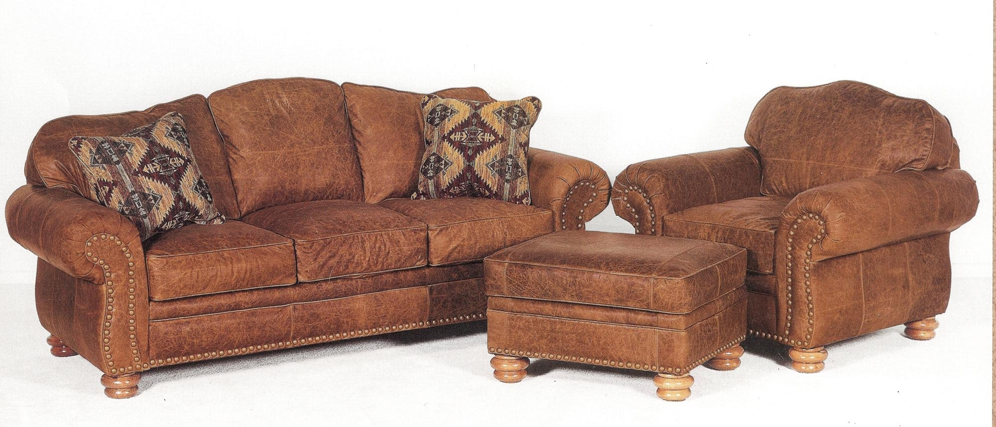 Worn Leather Sofa And This Distressed Leather Sofa, Chair And With Sofa Chair And Ottoman (Image 20 of 20)