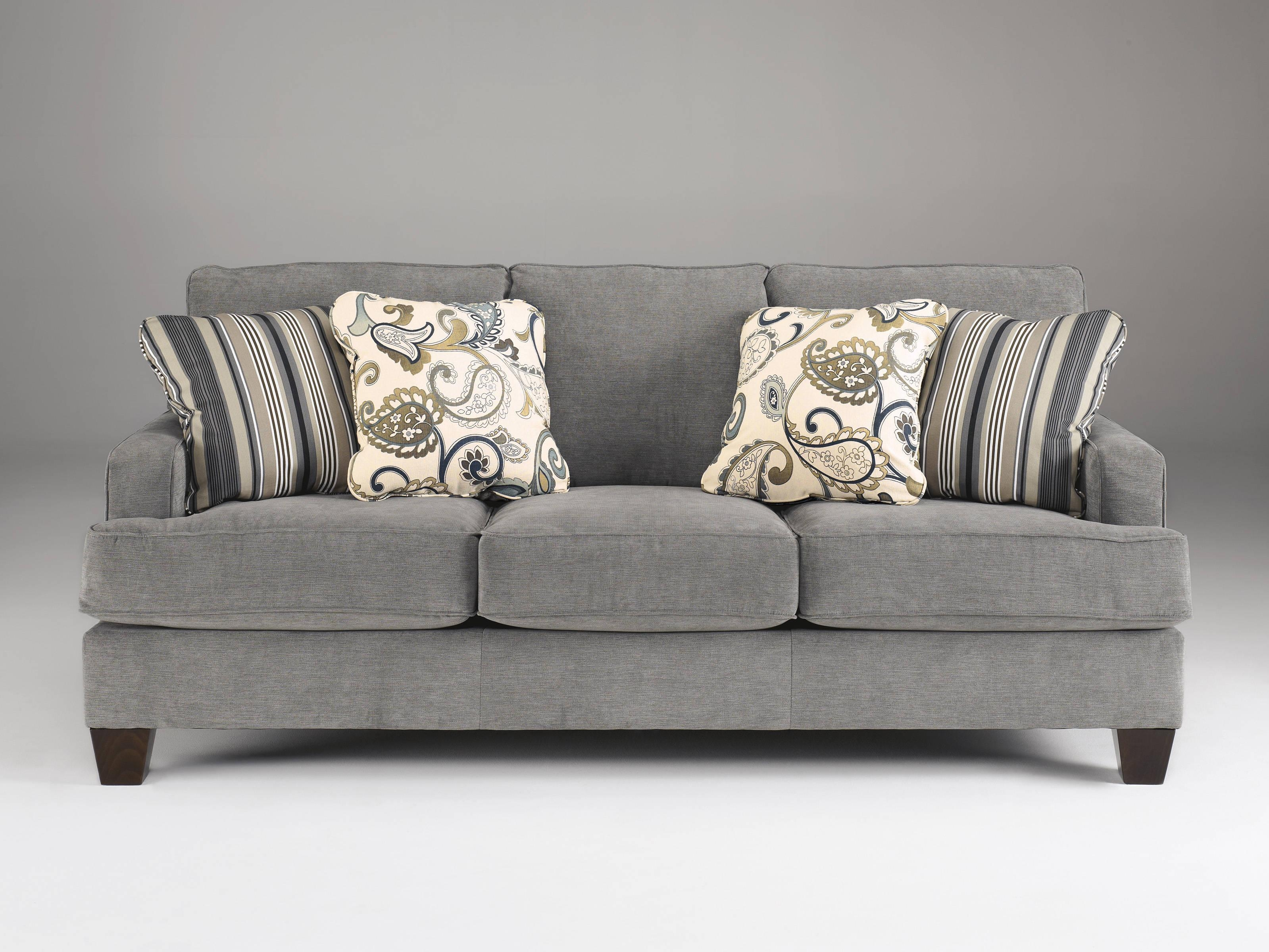 Yvette Casual Steel Gray Fabric Cushion Back Sofa | Living Rooms Pertaining To Casual Sofas And Chairs (Image 21 of 21)