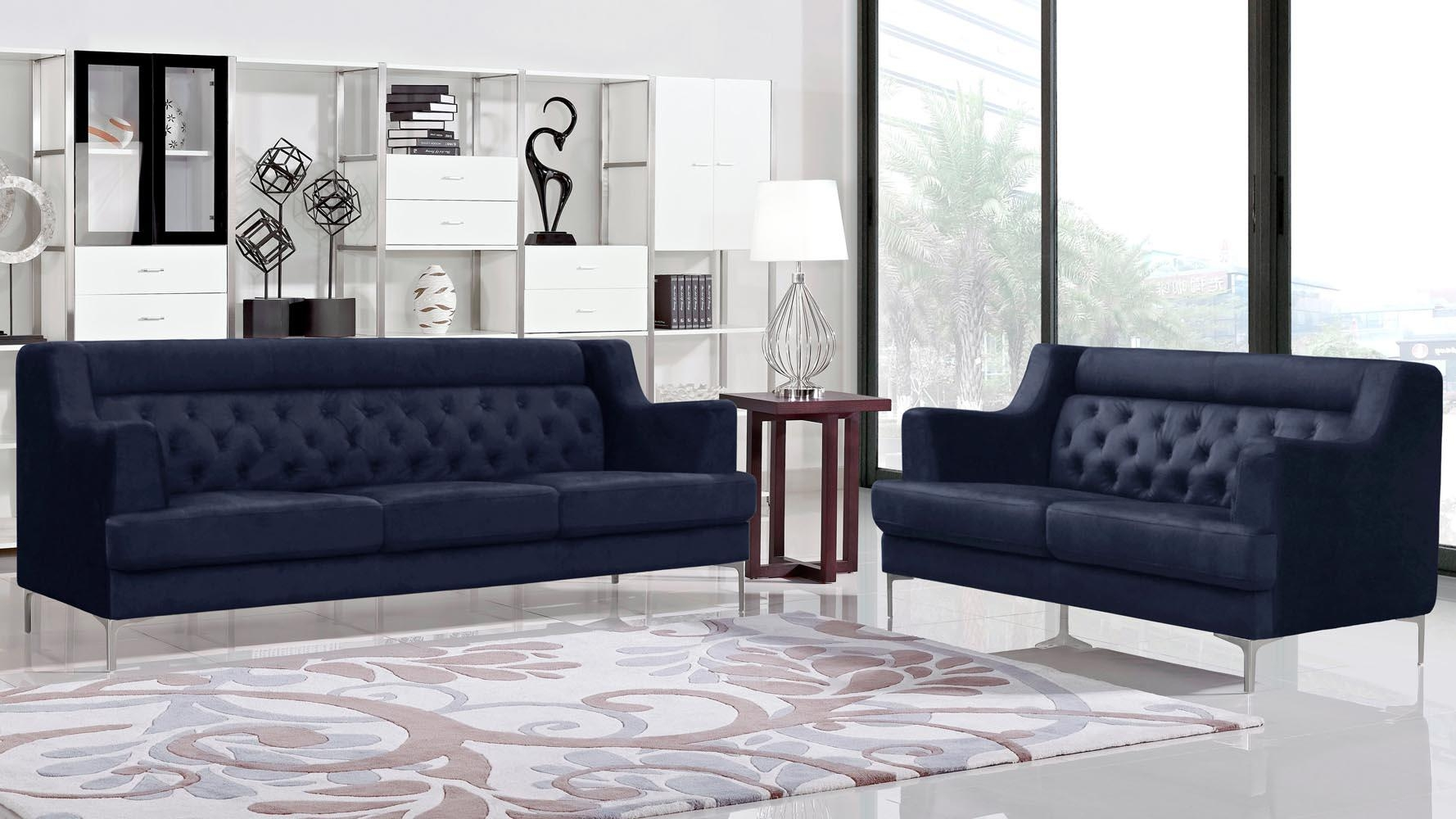 Zara Fabric Tufted Sofa With Chrome Legs – Navy Blue | Zuri Furniture In Sofas With Chrome Legs (Photo 13 of 20)