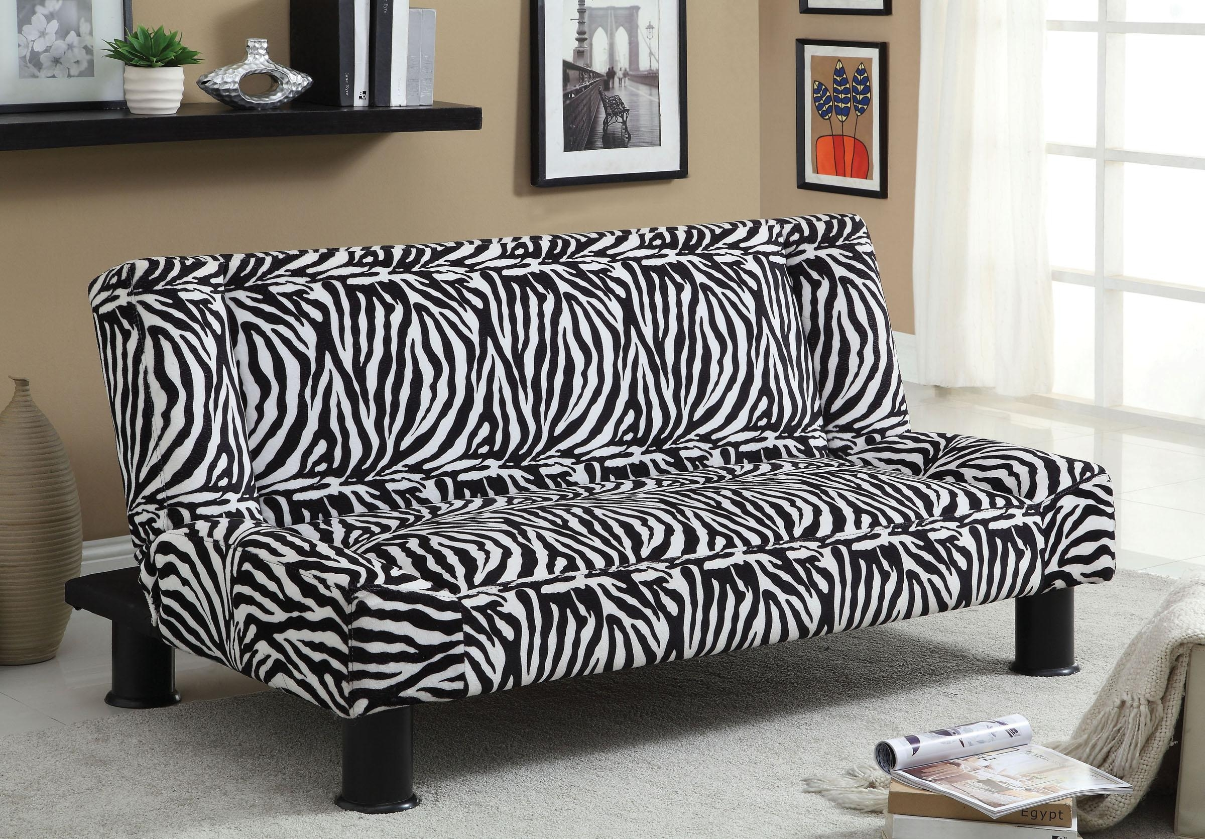 Zebra Print Fabric Sofa Bed Futon in Animal Print Sofas