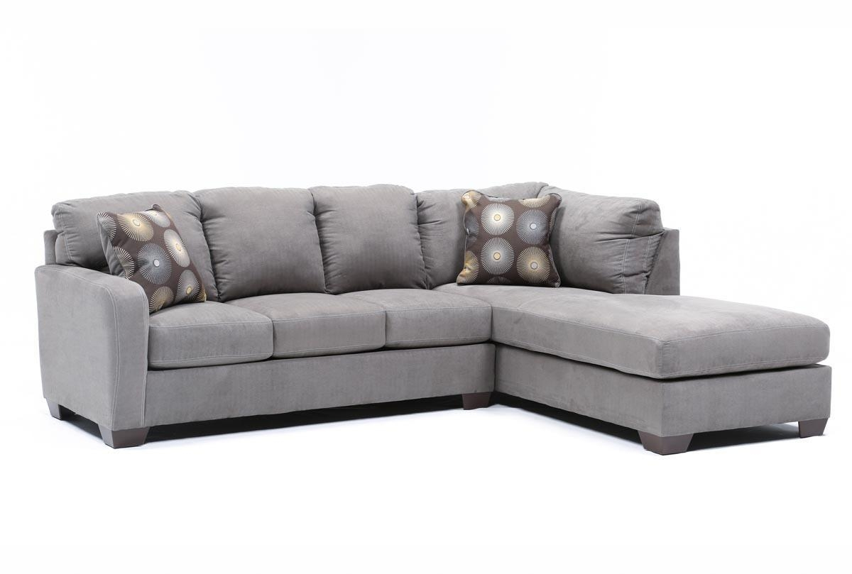 Zella Charcoal 2 Piece Sectional W/raf Chaise – Living Spaces With Regard To Sectional Sofa With 2 Chaises (Image 20 of 20)