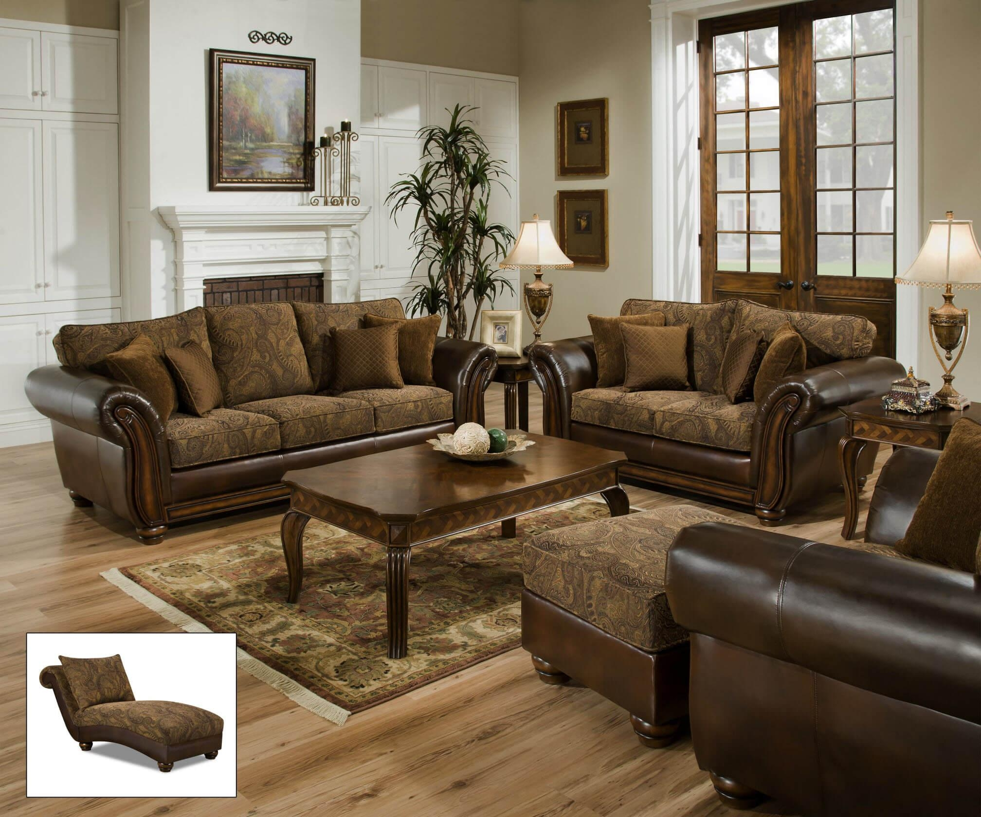 Zephyr Vintage Tobacco Sofa And Loveseat | Living Room Sets pertaining to Simmons Chaise Sofa