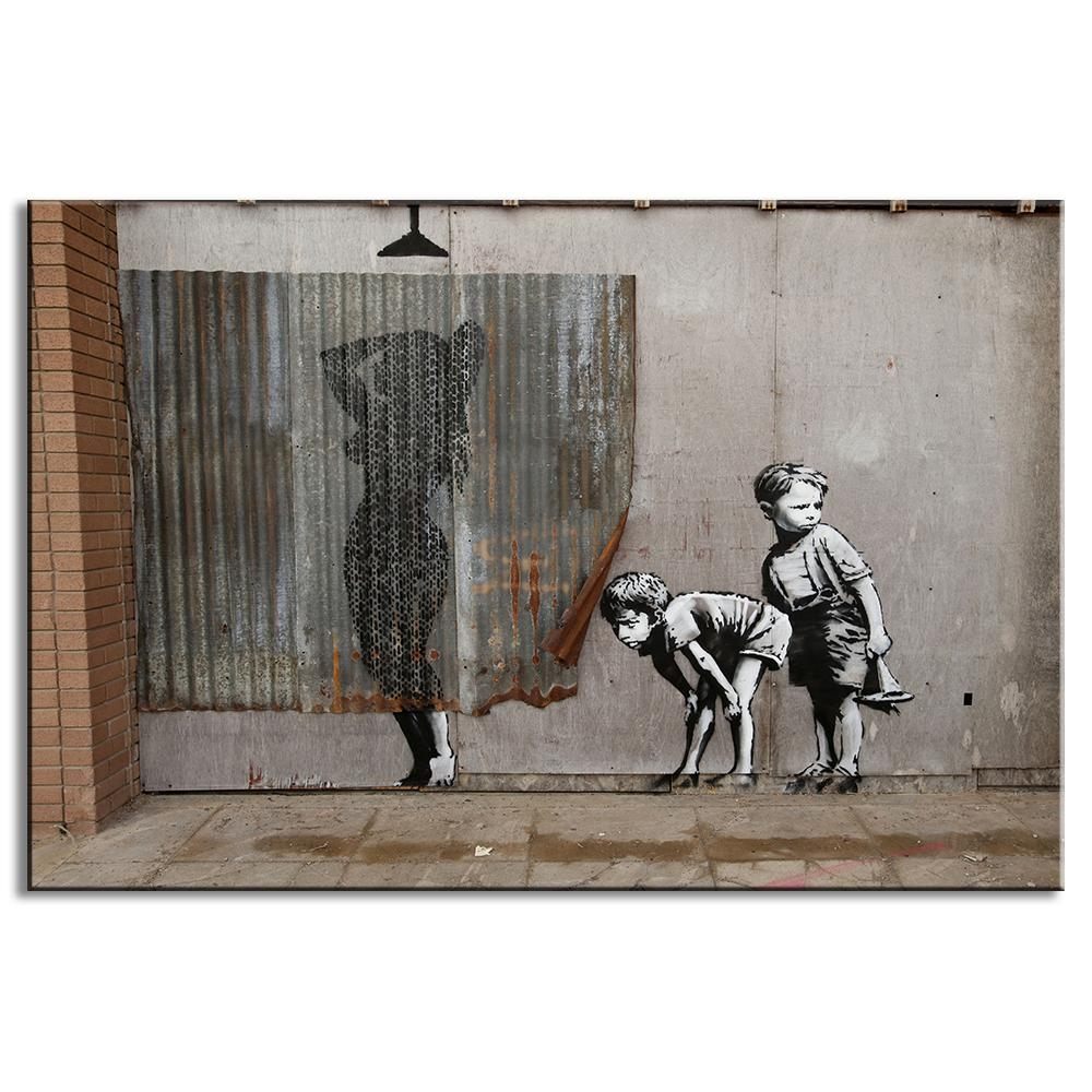 1 Pcs Retro Banksy Art Boys Peeping Canvas Painting Abstract Nude with Banksy Canvas Wall Art