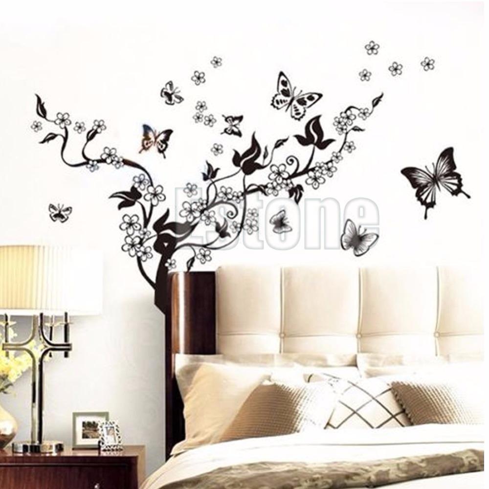 1 Set Butterfly Flower Wall Art Decal Vinyl Stickers Home Diy For Butterflies Wall Art Stickers (View 13 of 20)