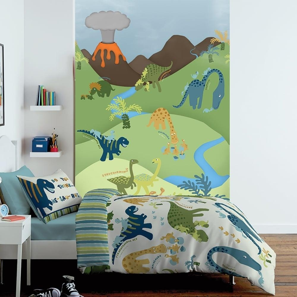 1 Wall Cartoon Dinosaur Childrens Mural Kids Wall Art 1.58 X 2.32M pertaining to Dinosaur Wall Art for Kids