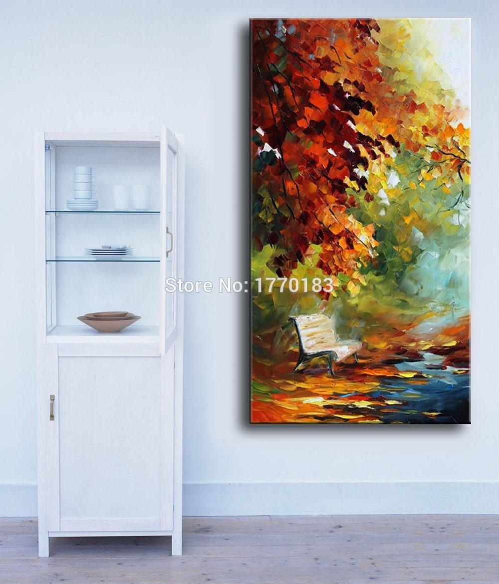 100% Hand Painted Autumn Landscape View Knife Modern Canvas Oil In Long Vertical Wall Art (Image 1 of 20)