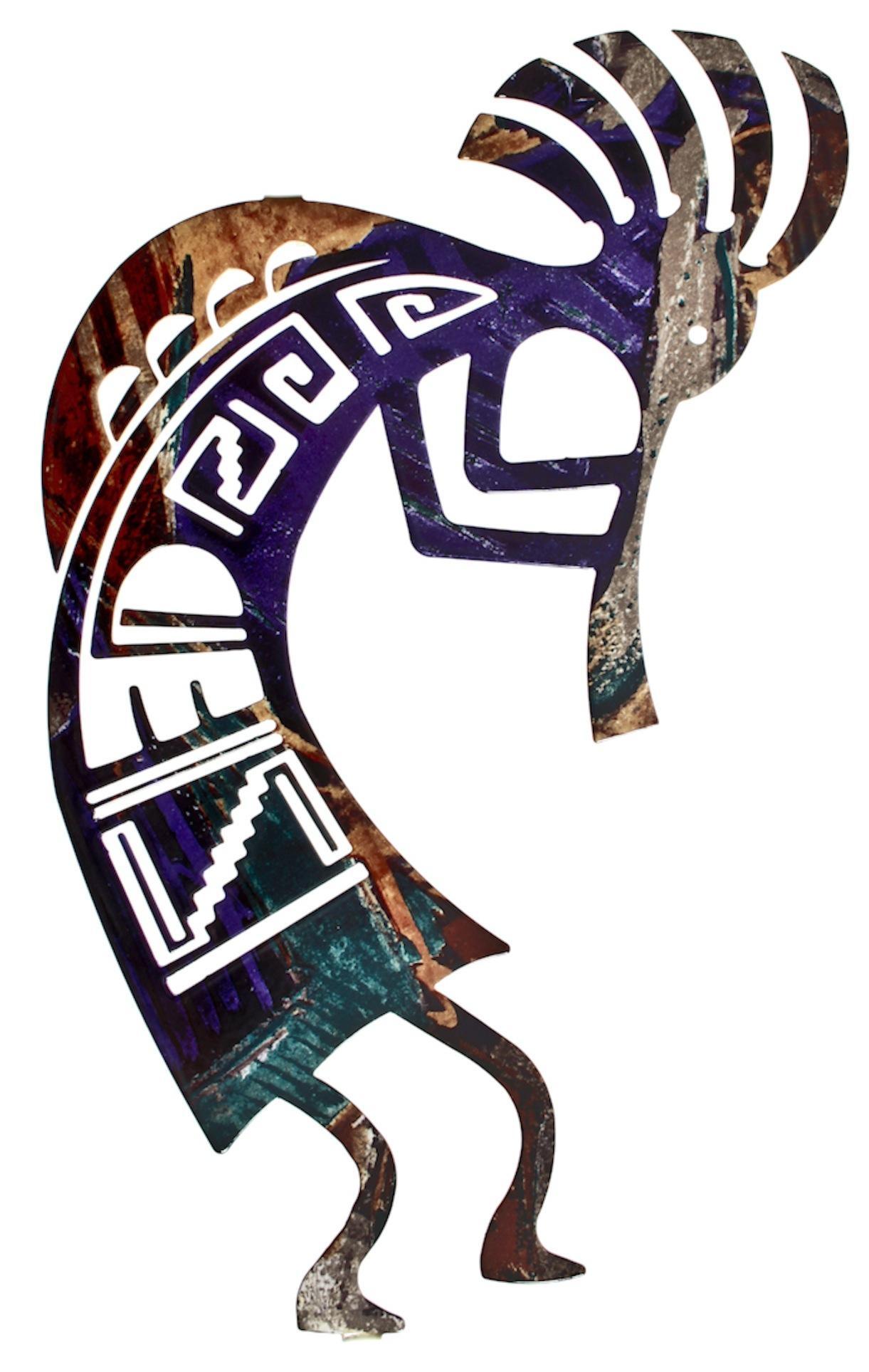 "12"" Hunched Over Kokopellibindrune Design| Modern Metal Wall Art Pertaining To Kokopelli Metal Wall Art (Image 1 of 20)"
