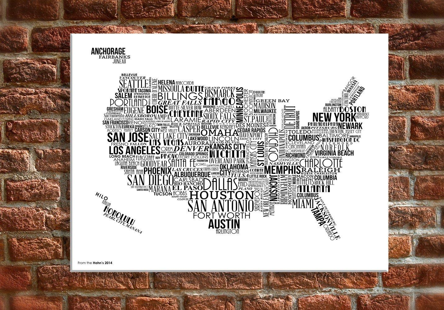 "12 X 18"" Canvas Wall Art – Usa Map With White Text Intended For Us Map Wall Art (Image 1 of 20)"