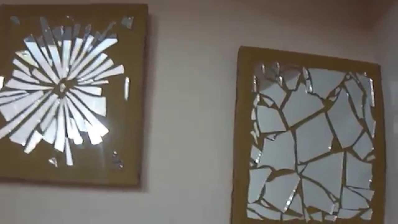 15 Diy Wall Decor — Mirror Mosaic – Youtube In Modern Mirrored Wall Art (Image 1 of 20)