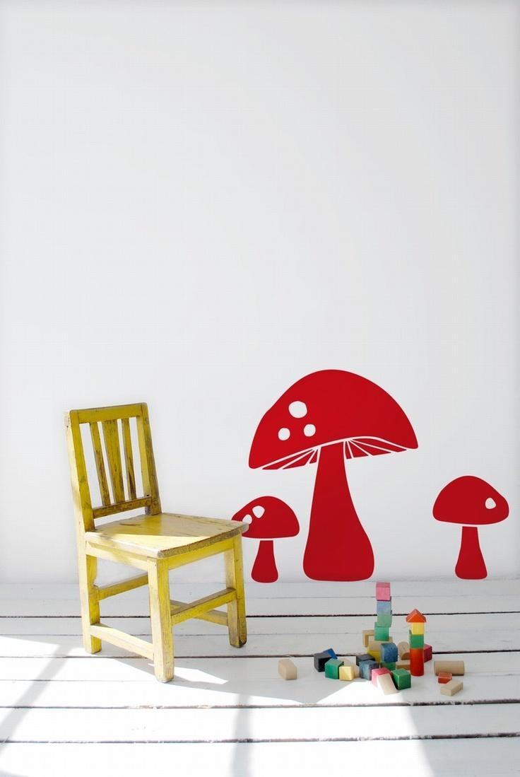 155 Best Plak De Sticker Images On Pinterest | Wall Stickers Inside Mushroom Wall Art (Image 1 of 20)