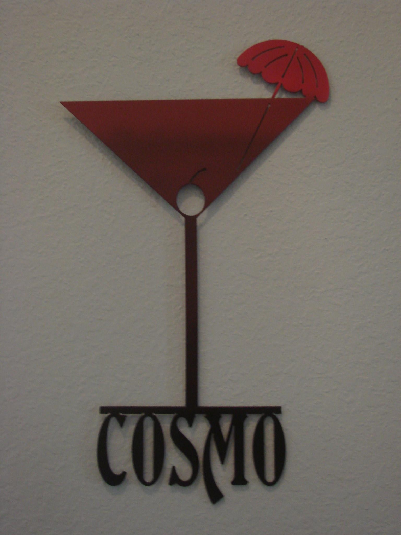 16 Gauge Ombre Red To Black Cosmopolitan Martini Glass Metal Wall for Martini Glass Wall Art