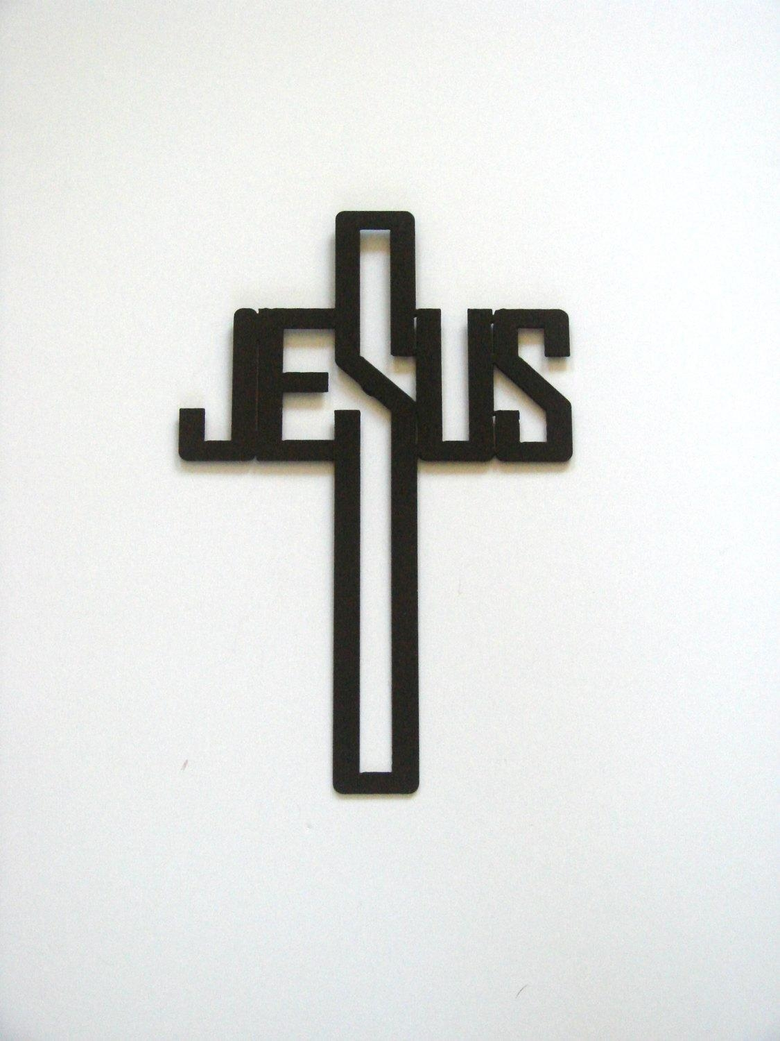 16 Gauge Steel Art Deco Jesus Name Cross Metal Wall Art for Art Deco Metal Wall Art
