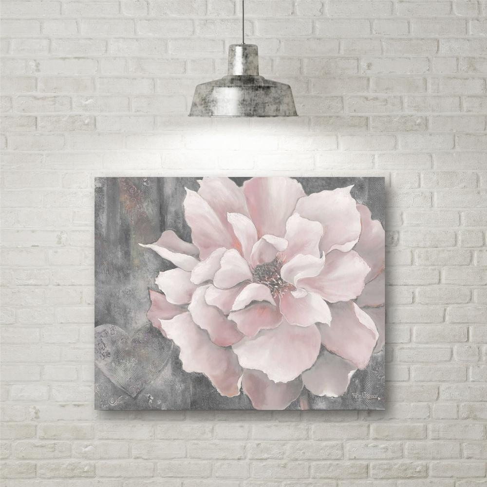 "16 In. X 20 In. ""pink And Gray Magnolia"" Canvas Wall Art-Web-Sc329 with Pink And Grey Wall Art"