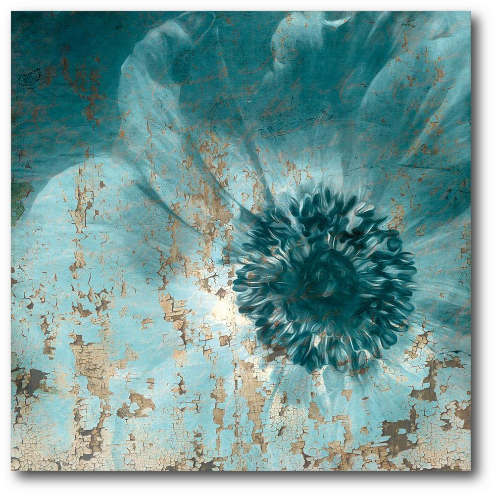 16In. X 16In. Teal Flower Wrapped Canvas Canvas Wall Art-Web-Sb161 inside Turquoise and Brown Wall Art