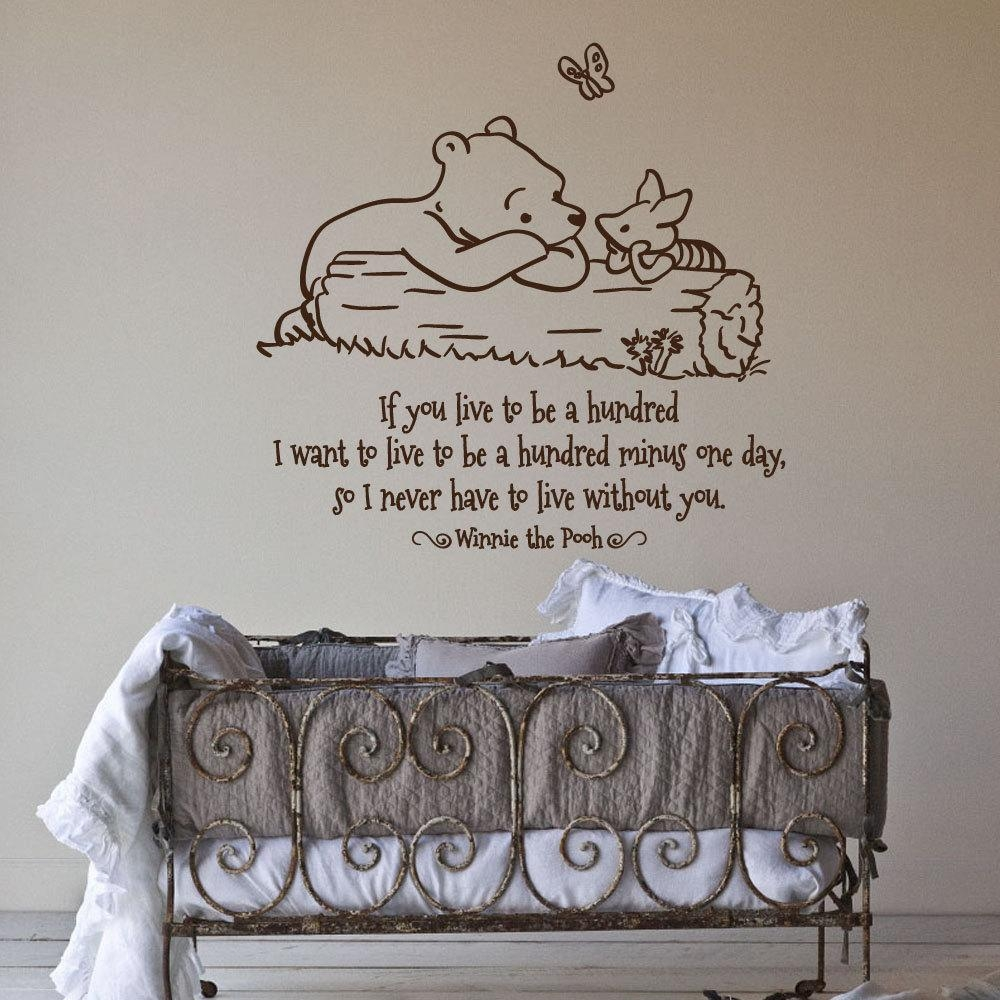 17 Nursery Wall Decals And How To Apply Them | Keribrownhomes intended for Winnie the Pooh Nursery Quotes Wall Art