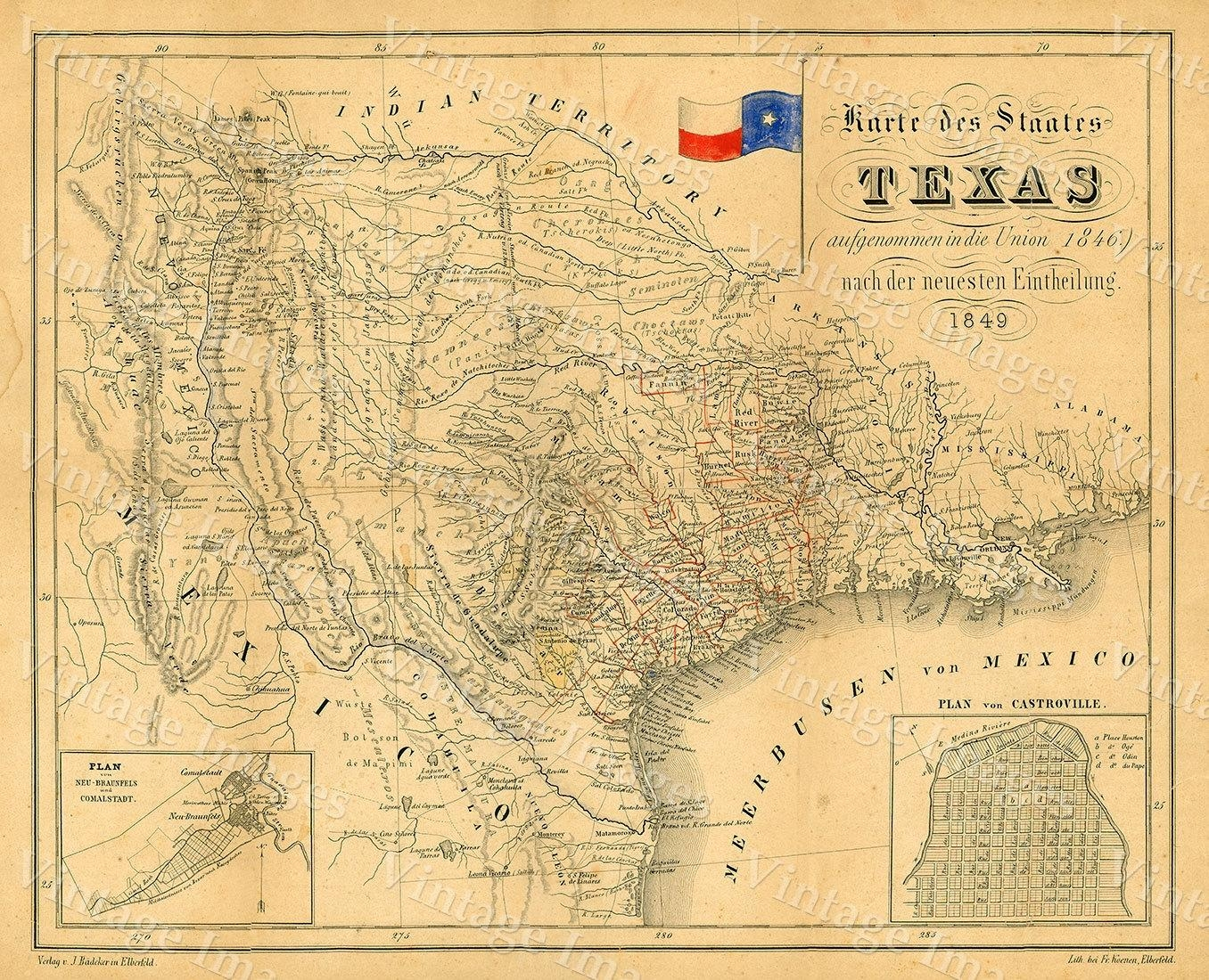 1849 Map Of Texas Old Texas Map Texas Map Of Texas Vintage Intended For Antique Map Wall Art (Image 1 of 20)