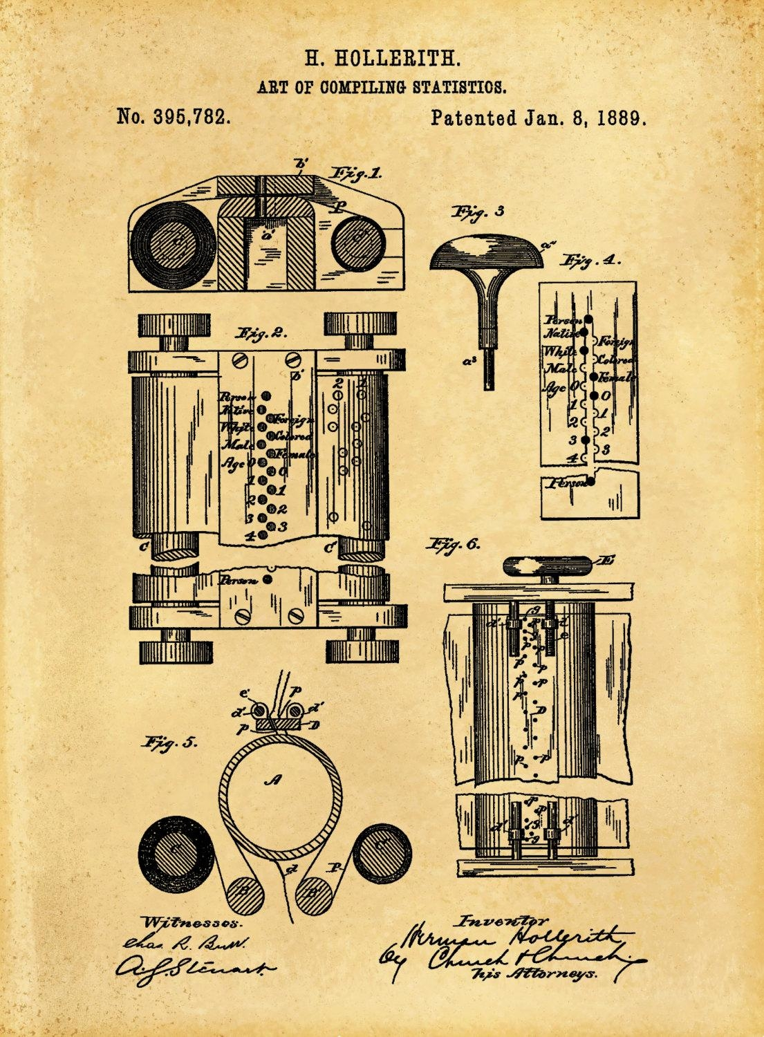1889 First Computer Patent Print – Art Of Compiling Statistics With Computer Wall Art (View 18 of 20)