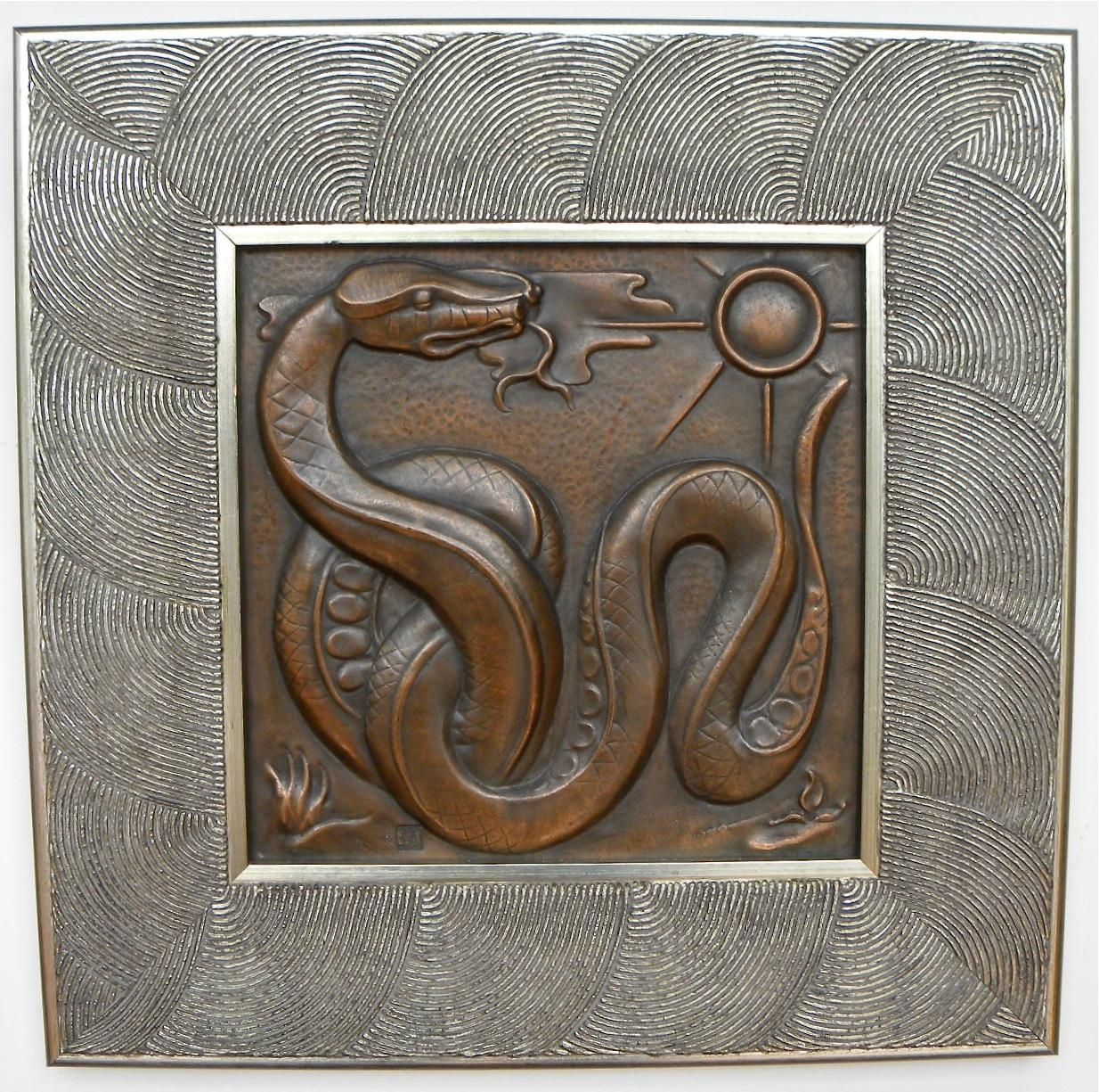 1930S Belgian Art Deco Copper Wall Plaque Quintet • Maredsous with Art Deco Metal Wall Art