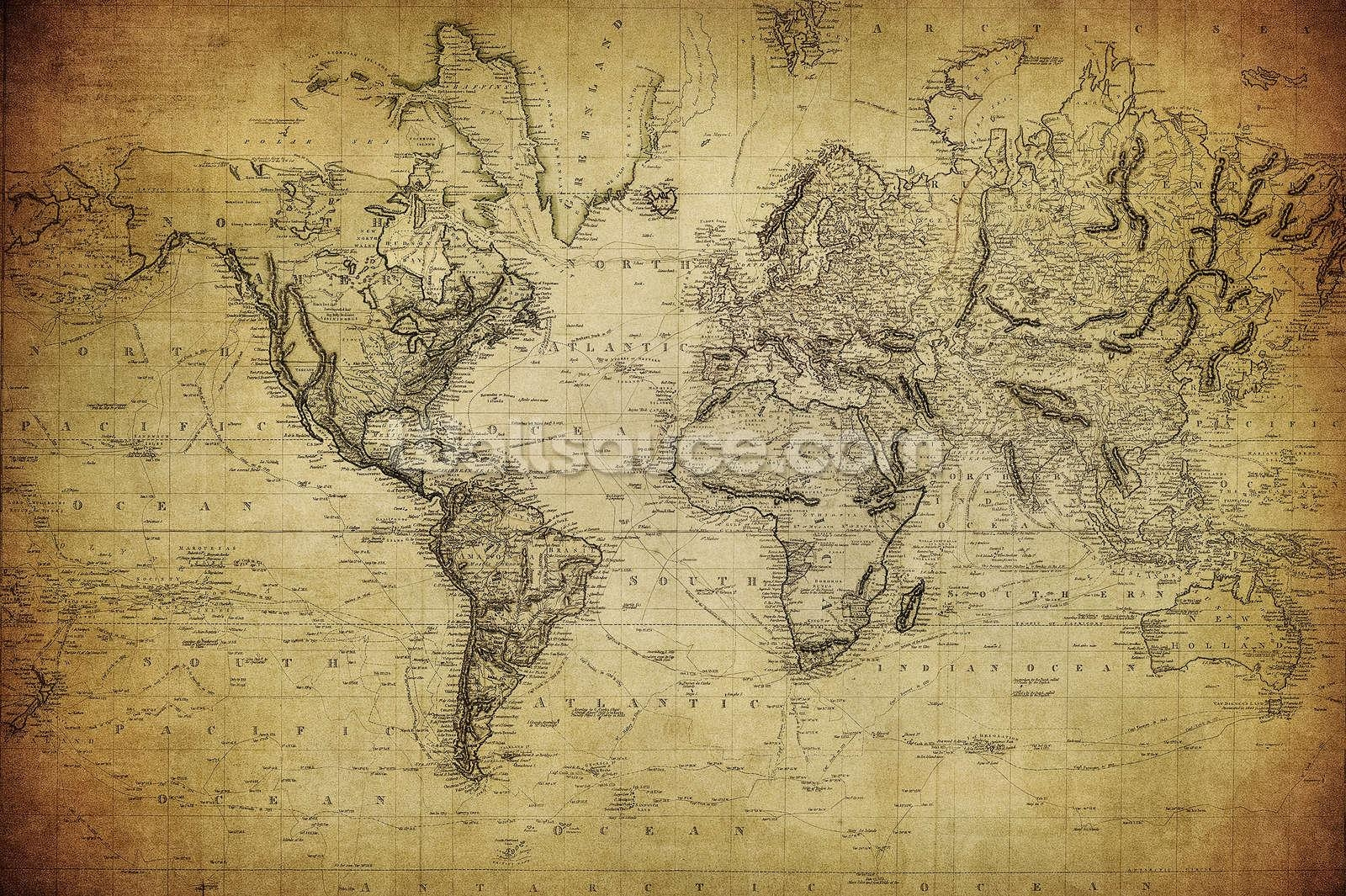 19Th Century Vintage Map Wallpaper Wall Mural | Wallsauce Usa In Vintage Map Wall Art (View 17 of 20)