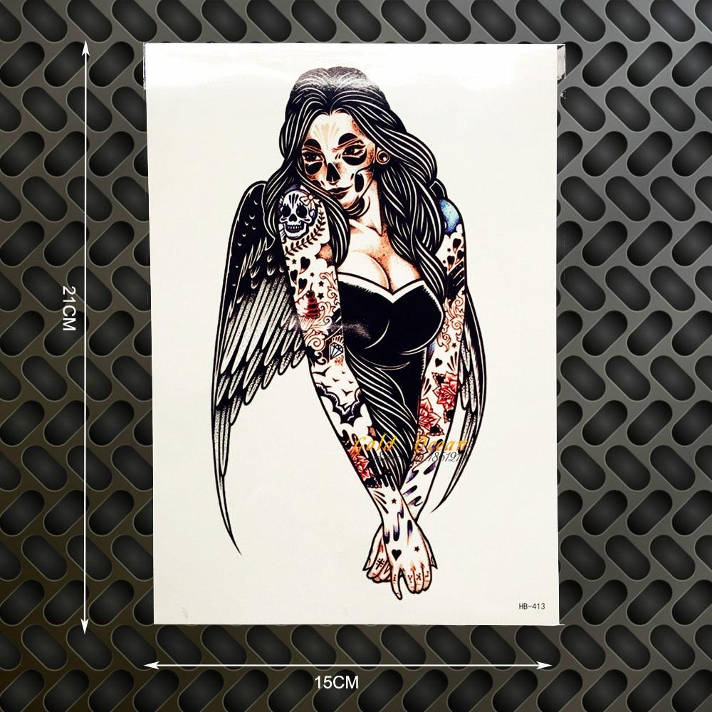 1Pc Evil Angel Wings Flash Disposable Tattoo Body Art Arm Tattoo Throughout Tattoo Wall Art (Image 1 of 20)