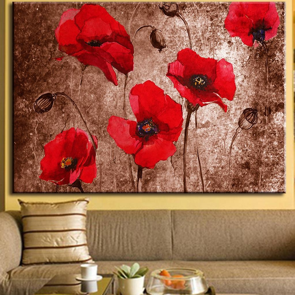 1Pcs Huge Picture Abstract Flower Painting Print On Canvas Red regarding Red Poppy Canvas Wall Art