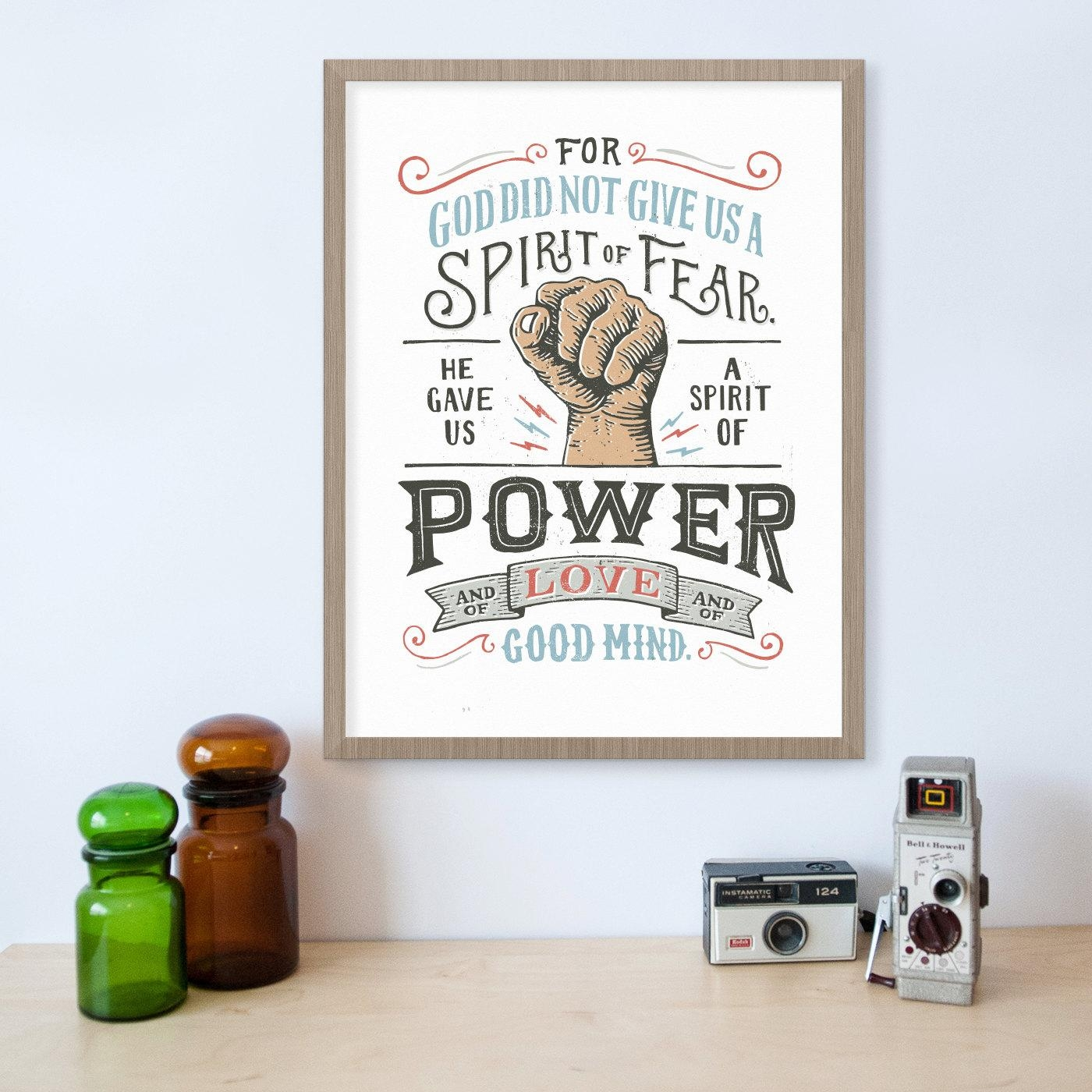 2 Timothy 1:7 Bible Verse Wall Art Scripture Print Fearless Within Bible Verses Wall Art (View 16 of 20)