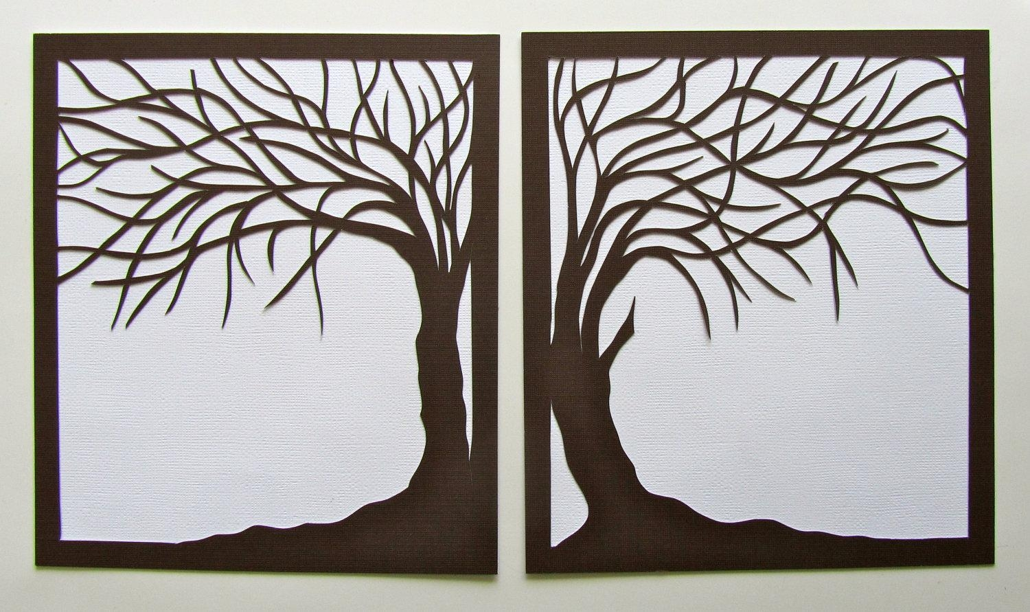 2 Trees Of Life Silhouette Paper Cut In Brown Over White Inside Celtic Tree Of Life Wall Art (Image 1 of 20)