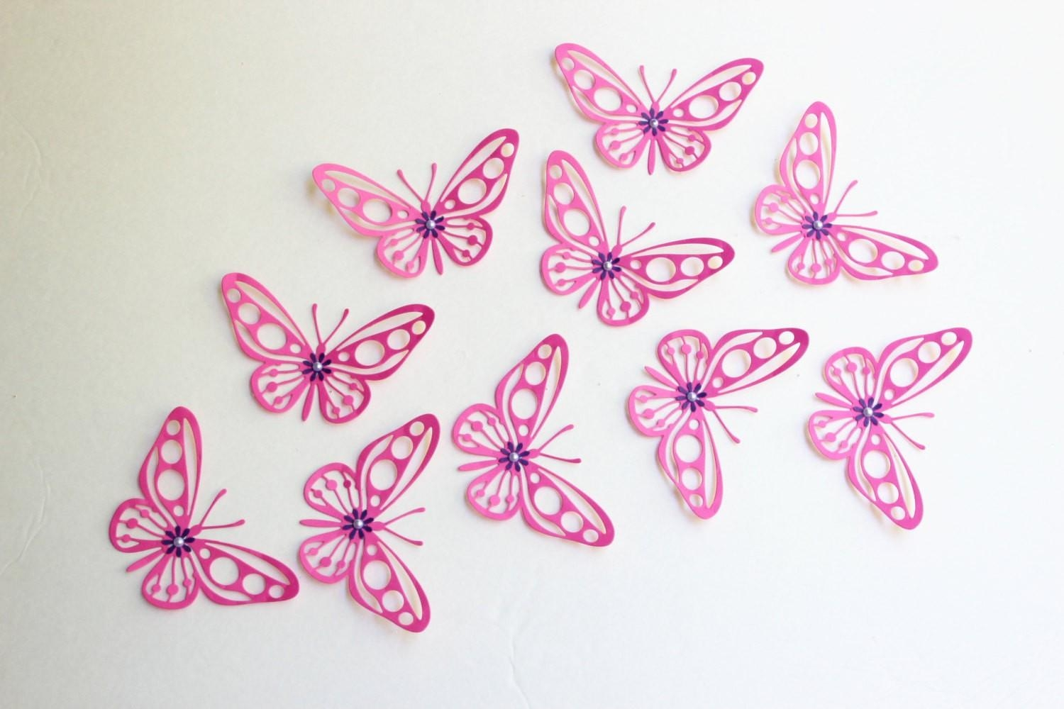 2014 Wall Decor Ideas - Pink Butterflies Butterfly Wall Art Paper inside Pink Butterfly Wall Art