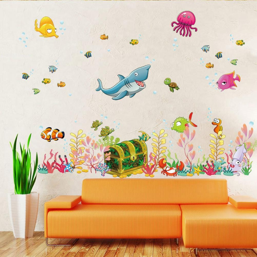 2015 New Sea World Childrens Room Wall Sticker Ocean World Cartoon Intended For Wall Art Stickers For Childrens Rooms (View 14 of 20)