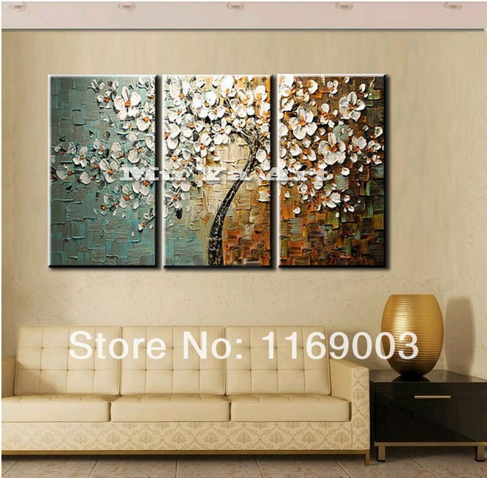 2017 3 Panel Wall Art Canvas Tree Acrylic Decorative Pictures Hand Pertaining To Three Panel Wall Art (Image 1 of 20)