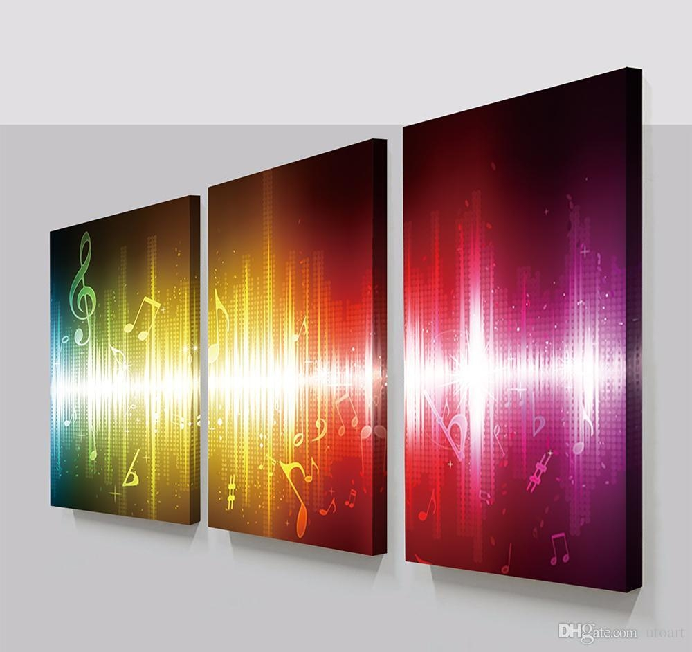 2017 3 Panels Beating Music Notes Abstract Canvas Painting Home In Abstract Canvas Wall Art (Image 1 of 20)