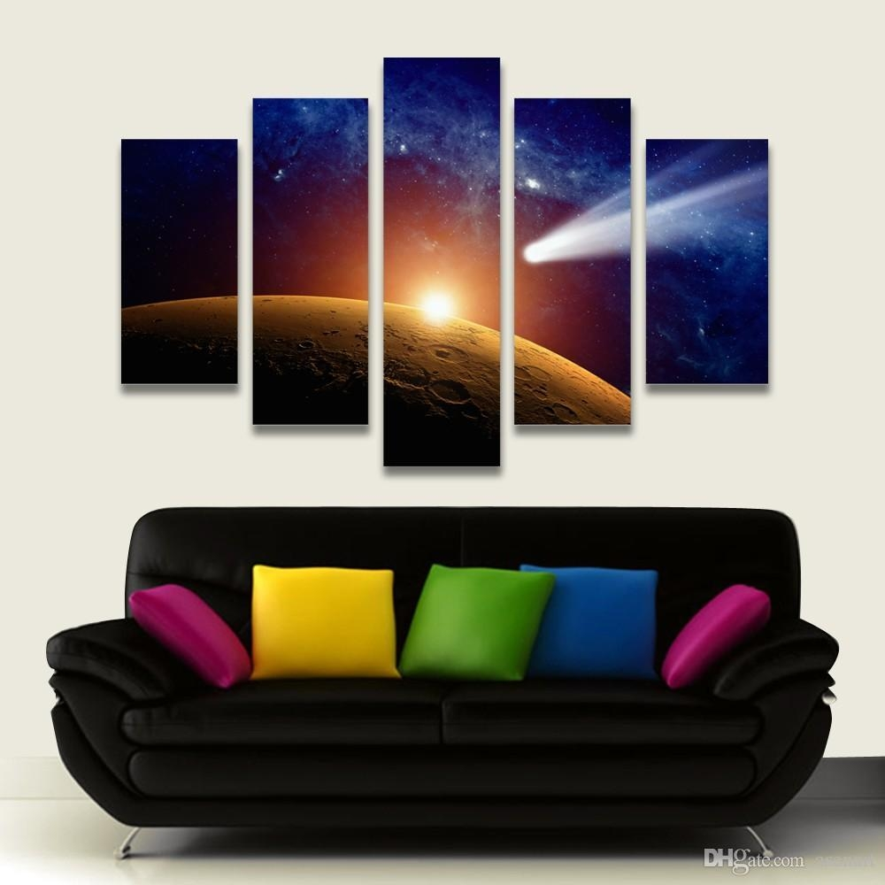 2017 5 Panel Painting Outer Space Moon Painting Canvas Art Prints With Regard To Outer Space Wall Art (View 4 of 20)