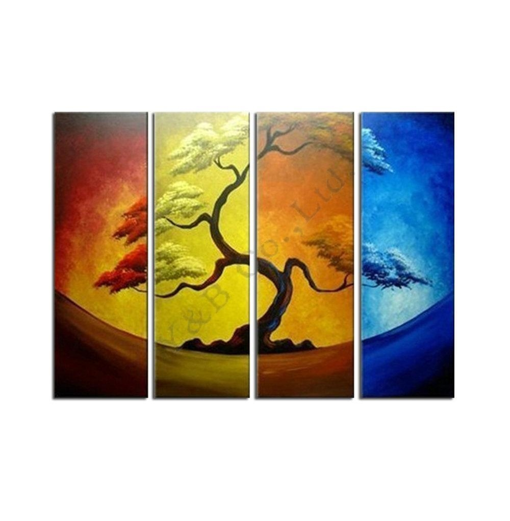 2017 Abstract Four Color Yellow Pine Tree Oil Painting Hand Regarding Pine Tree Wall Art (Image 1 of 20)