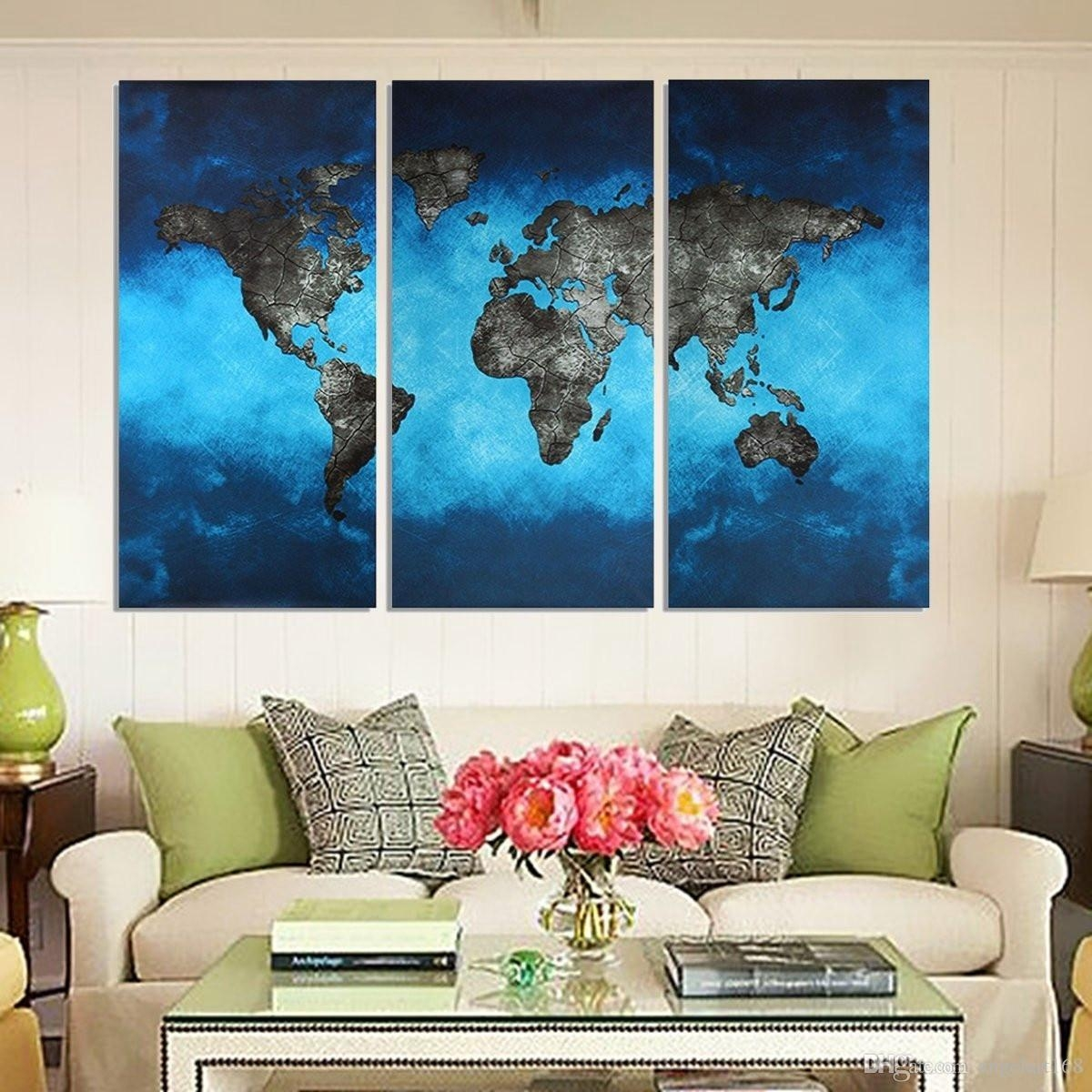 2017 Blue Map No Frame Wall Art Oil Painting On Canvas Simple And intended for Yellow and Blue Wall Art
