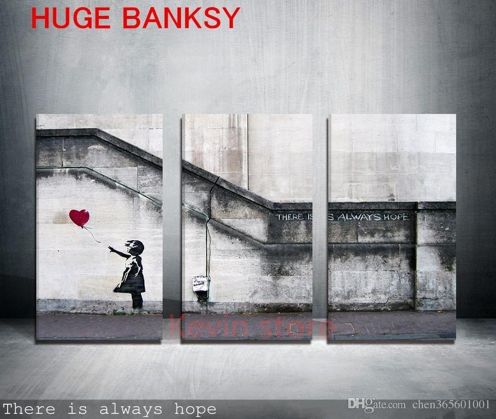2017 Canvas Only Large Banksy There Is Always Hope Modern Wall Pertaining To Banksy Wall Art Canvas (Image 1 of 20)