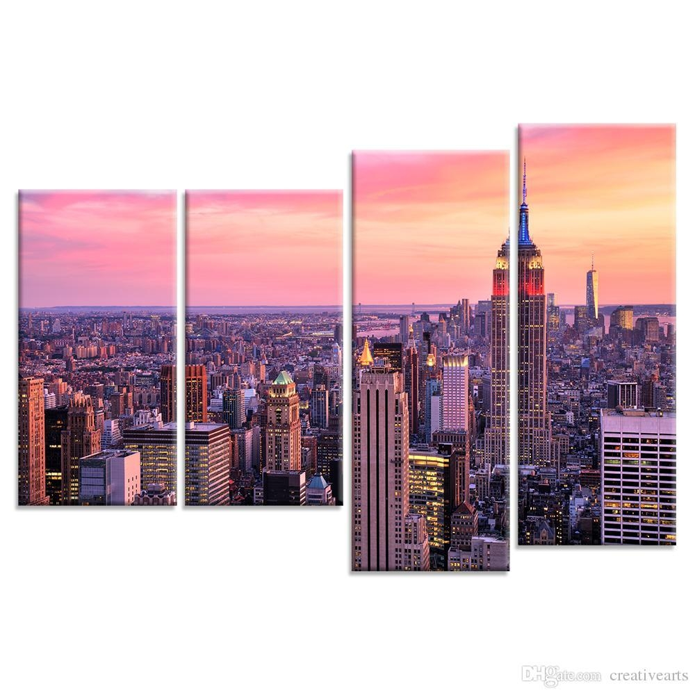 2017 Cityscape Canvas Wall Art Tall Buildings Skyscraper Canvas intended for Cityscape Canvas Wall Art