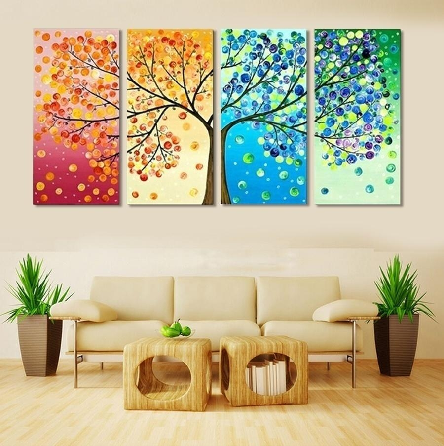 2017 Frameless Colourful Leaf Trees Canvas Painting Wall Art Spray with 4 Piece Wall Art