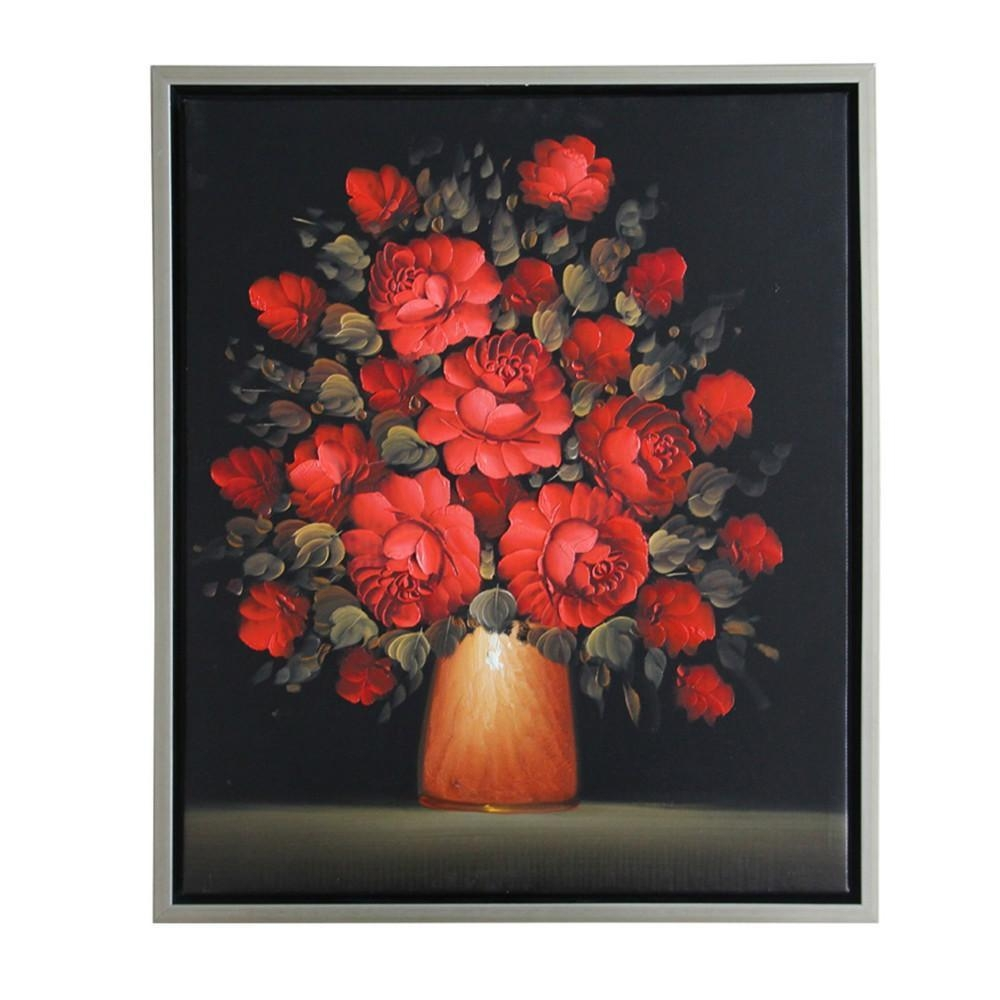 2017 Hand Painted Modern Abstract Beautiful Wall Art Black Red Pertaining To Red Rose Wall Art (Image 2 of 20)