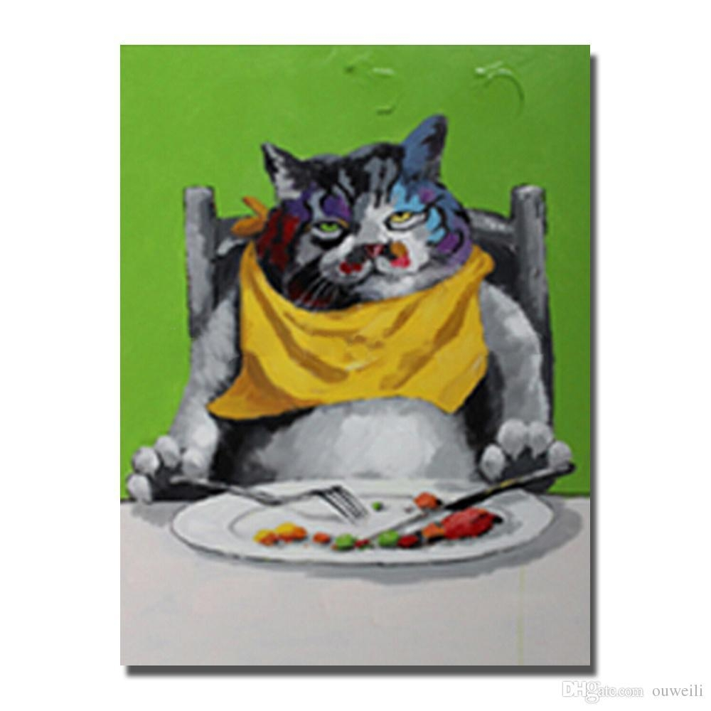 2017 Handrwing Fat Dog Wall Art Painting Home Goods Wall Decor Throughout Animal Canvas Wall Art (View 11 of 20)