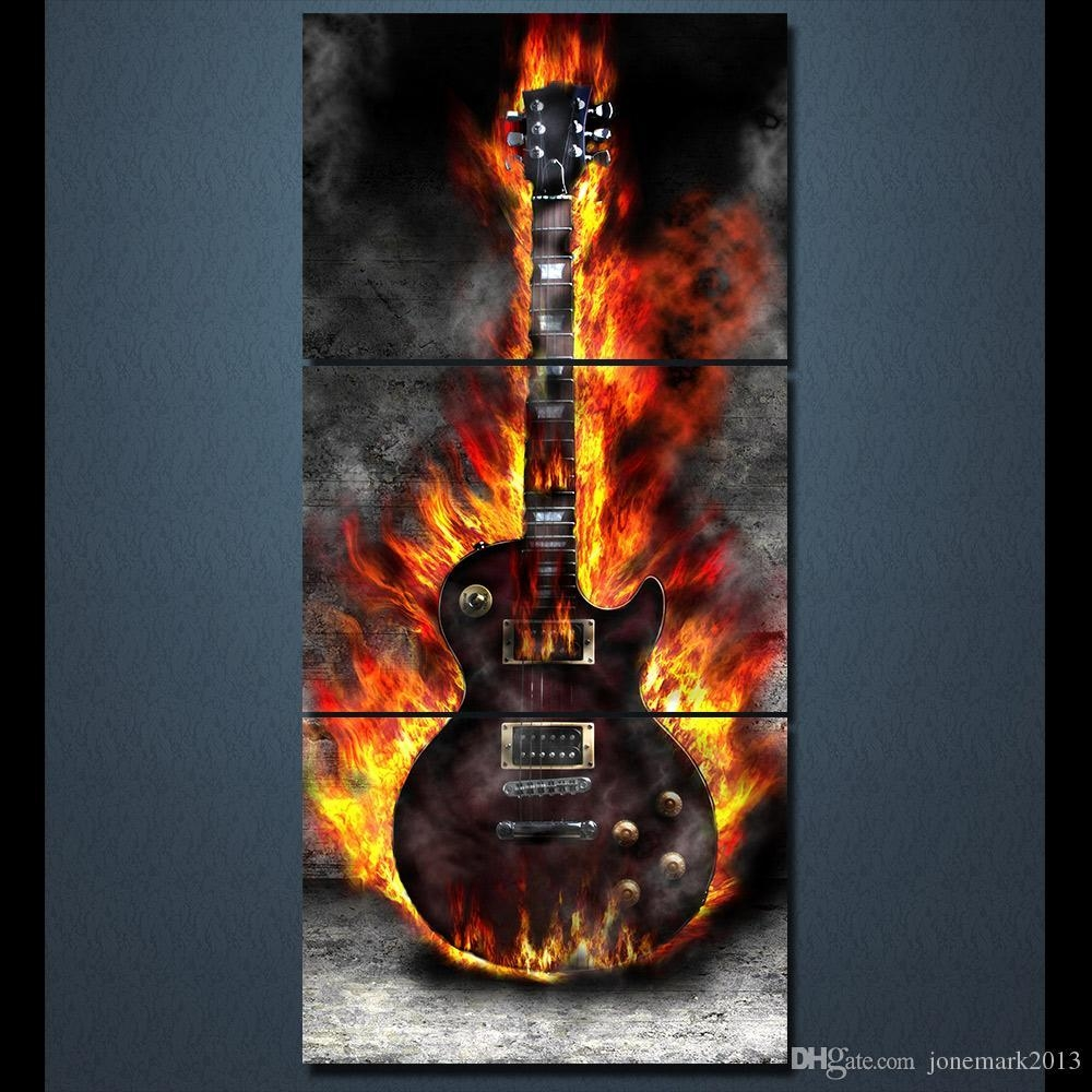 2017 Hd Printed 3 Panel Canvas Art Burning Guitar Canvas Painting Inside Guitar Canvas Wall Art (View 6 of 20)