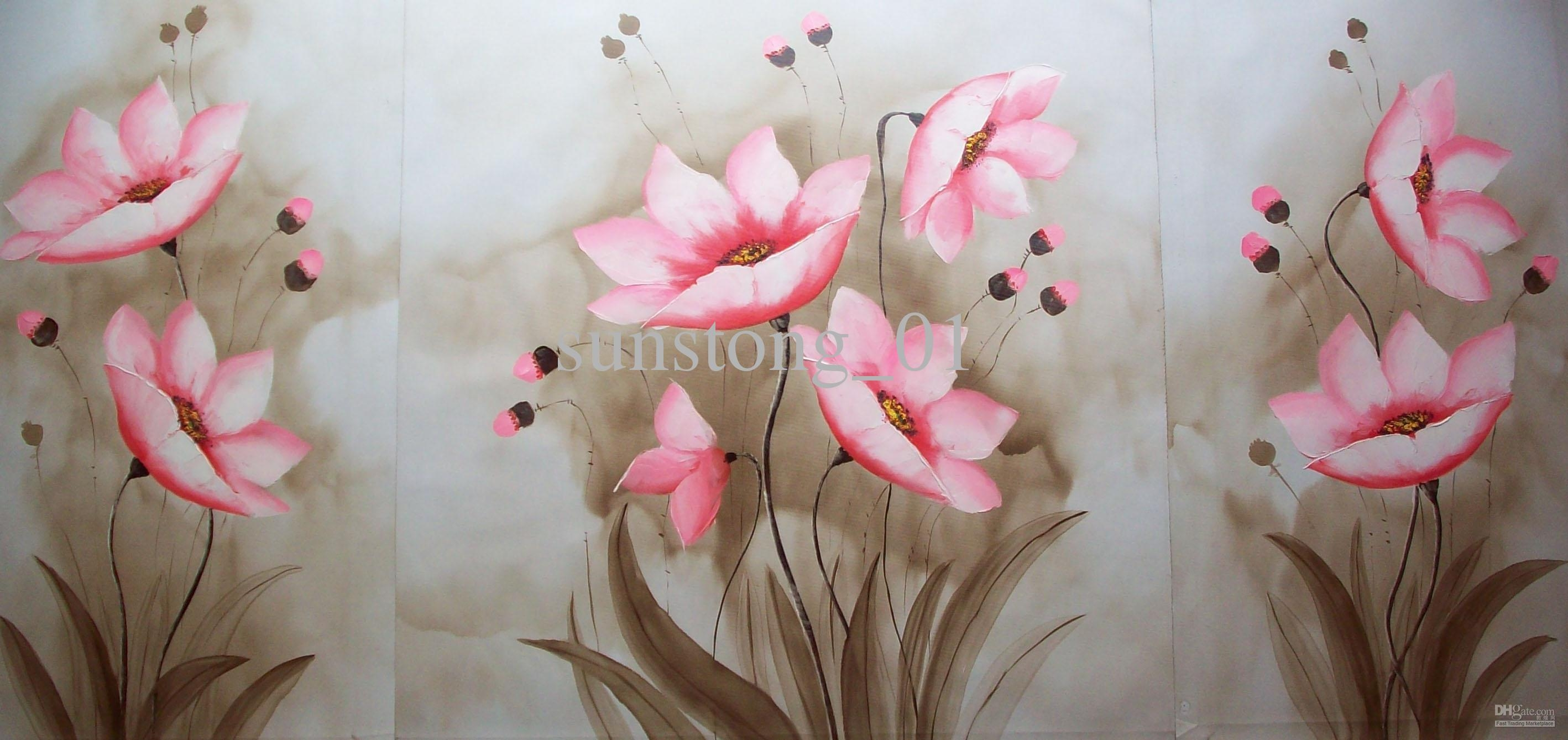 2017 Impression Group Oil Painting Nice Pink Flowers In Lake Pertaining To Pink Flower Wall Art (Image 1 of 20)