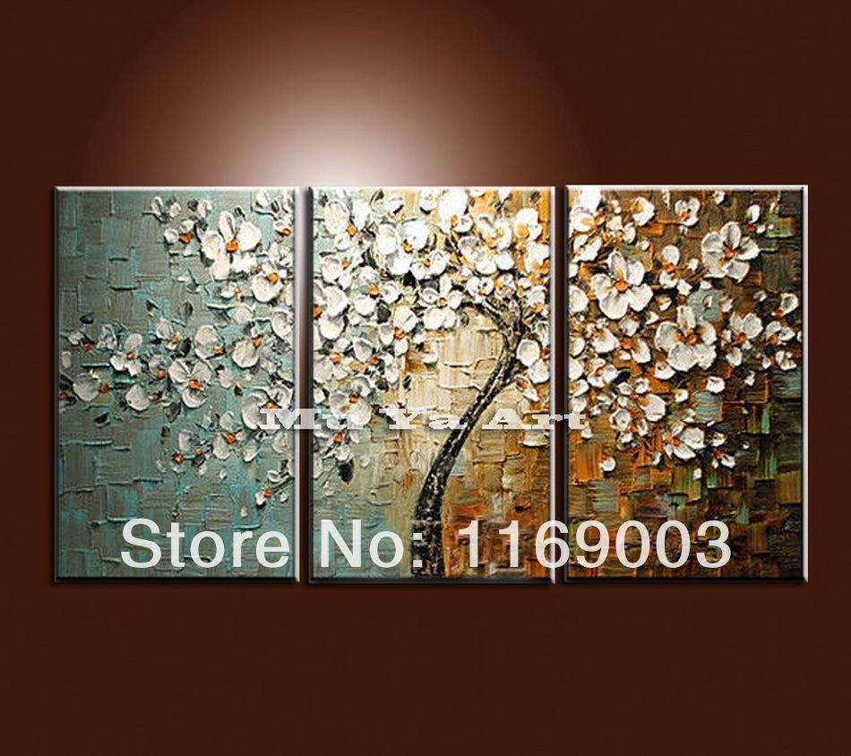 large 3 panel wall art abstract white flower tree of life with 3 piece wall