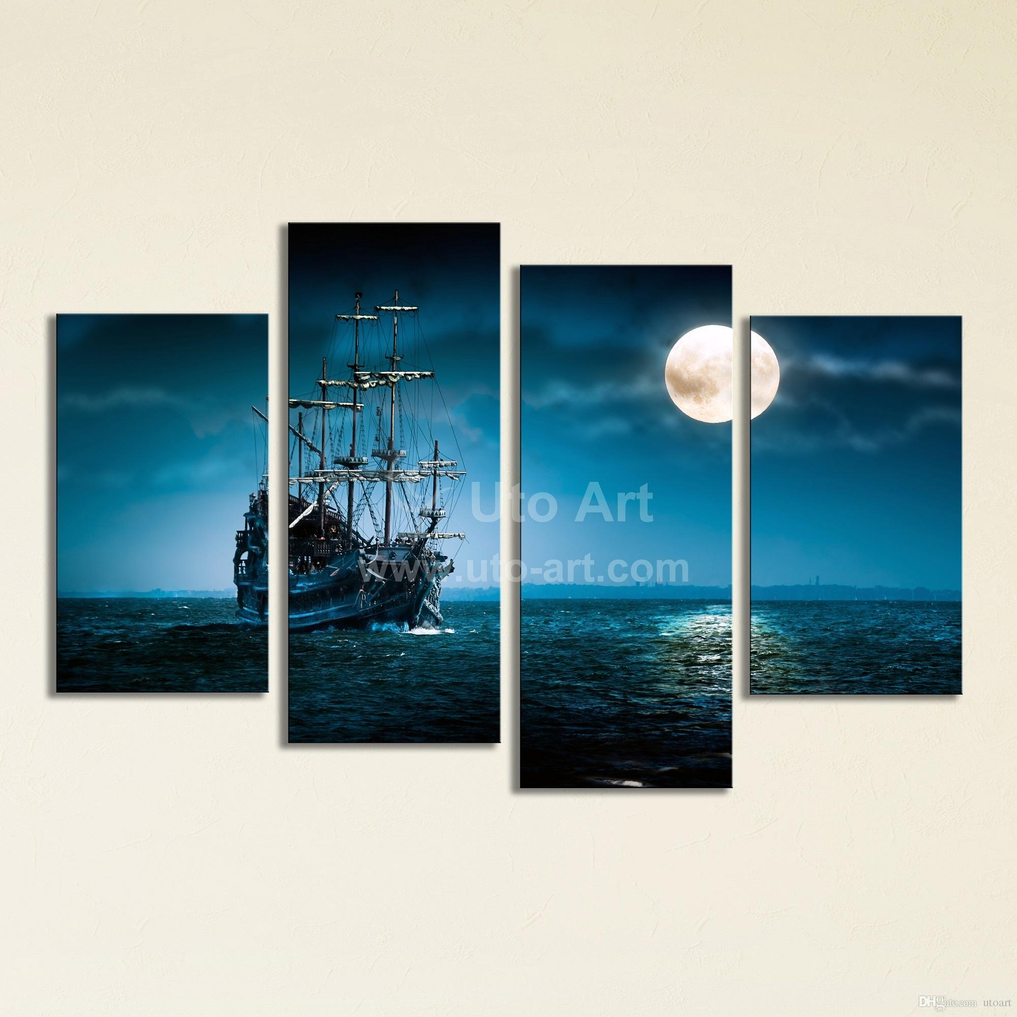 2017 Large 4 Panel Wall Art Painting Sailing Ship Canvas Wall With Regard To Huge Canvas Wall Art (Image 1 of 20)